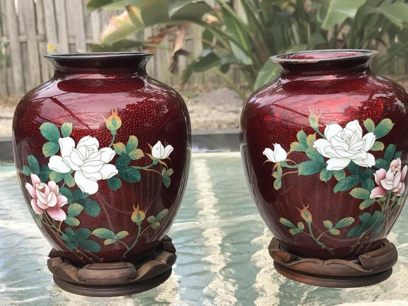 2 Japanese Cloisonn Vases Value