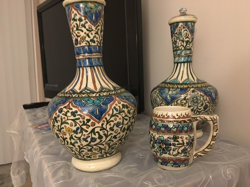 Pair of porcelain vases with...