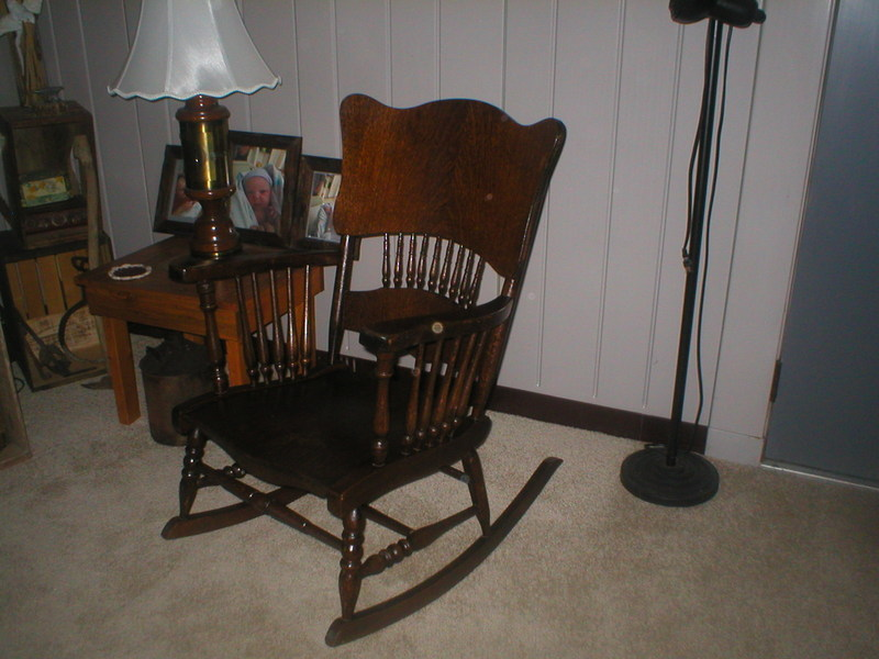 Wood Rocking Chair, Spindle Sides And Partial Spindles On Back.
