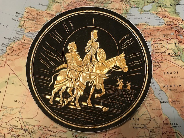 "Goya set of 6 ""Man of La Mancha"" silver back brass edged art work story, every plate with different story"