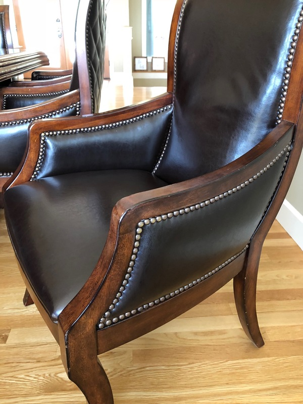Drexel Heritage 760 752 Classic Leather Armchair Brown Leather