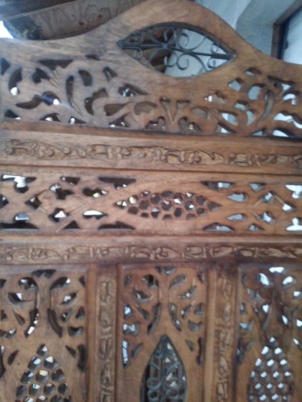 Antique carved wood room divider screen value