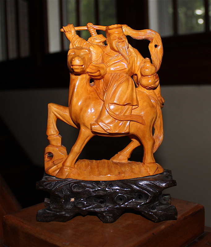 Wooden Small Statue of a Chinese ? Warrior on Horseback