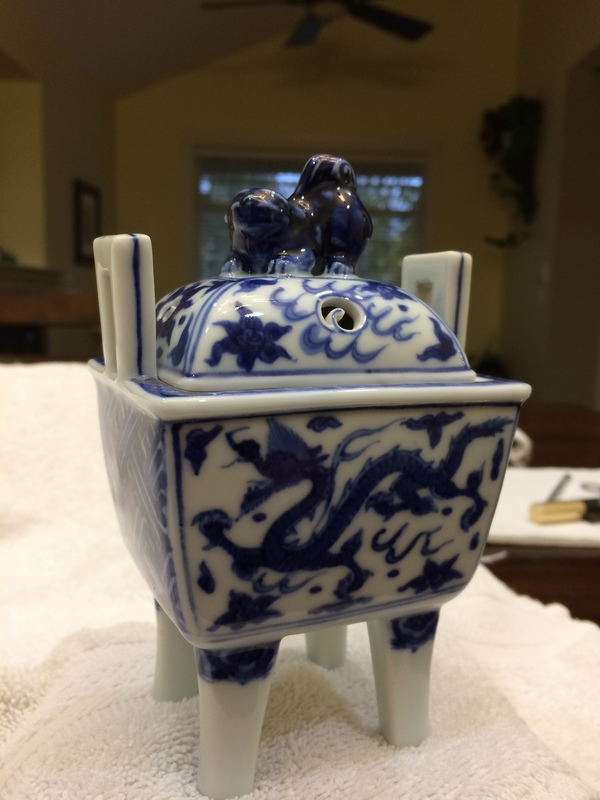 Small blue and white porcelain incense burner dragon motif 5 inches high 3 1/2 wide