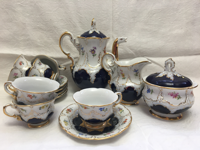 Meissen 15 pc cobalt blue floral demitasse coffee tea porcelain service set