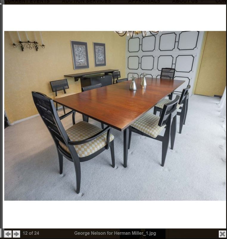 George Nelson for Henry Miller Dining Room table + 2 Chairs with Arm-rest + 4 Chairs without arm-rests