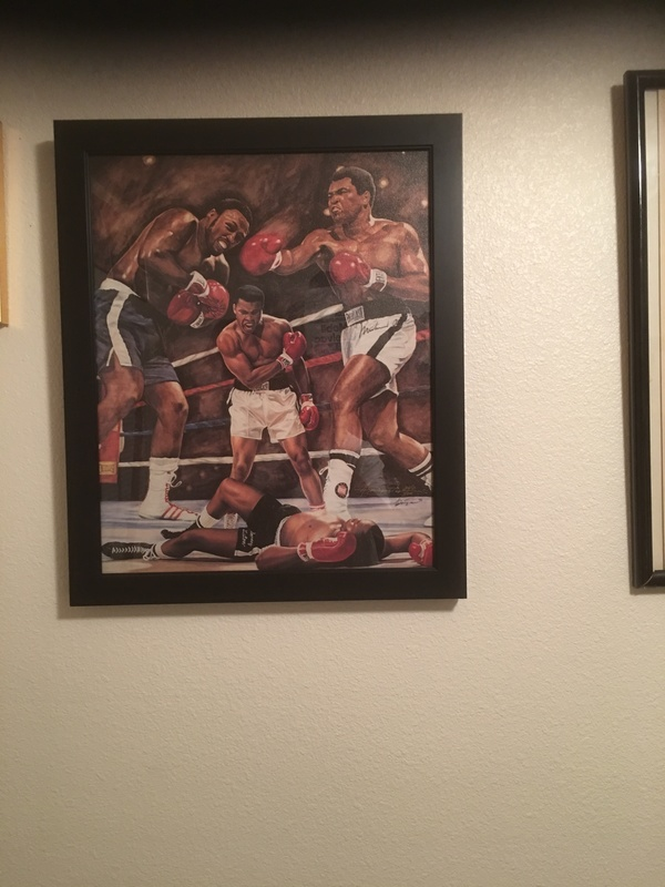 Autograph Oil On Canvas Muhammad Ali, Joe Frazier And Artists Anthony Douglas.