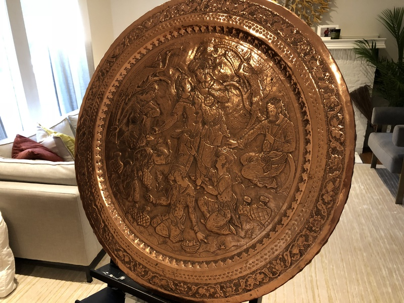 Large Copper Plate with relief of Persian Wedding