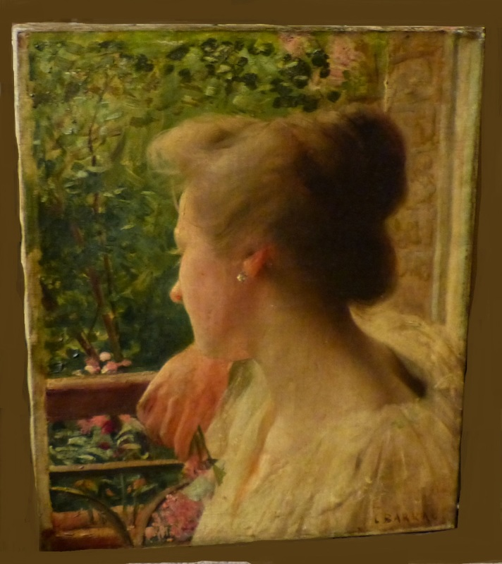 Unframed Oil on Canvas of a Lady Signed L Barra