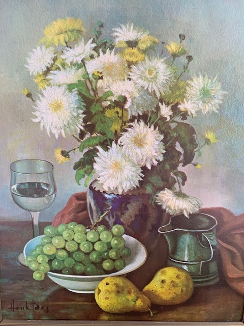 20x16 framed painting on canvas in good condition.  Flowers, pitcher, grapes in a bowl, 2 pears, and a wine glass.