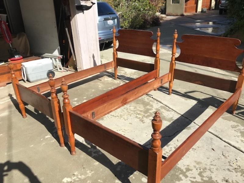 Solid cherry twin beds