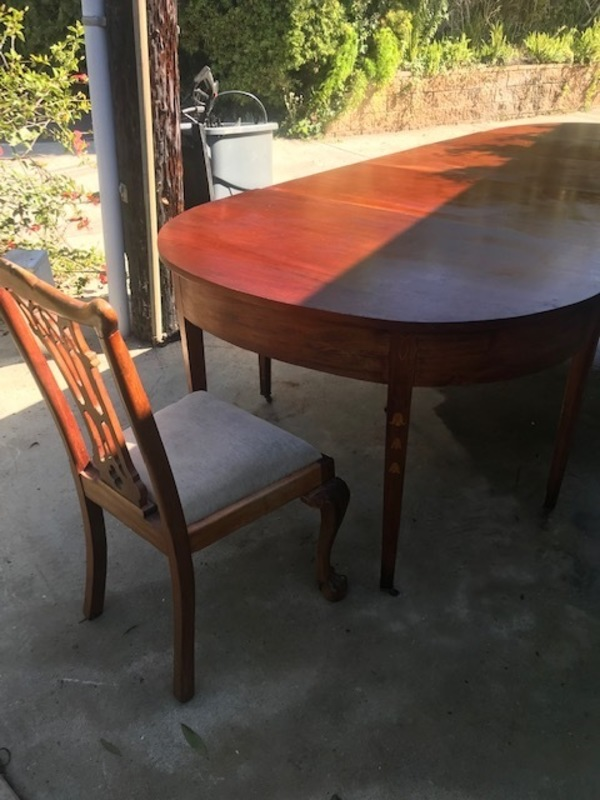 7 antique chairs and three part table