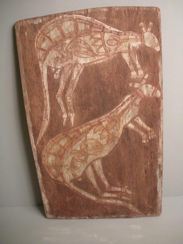 Australian Aboriginal 'x-ray' bark painting of a pair of kangaroos